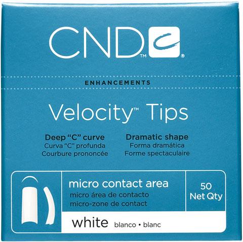 Velocity White vel. 4, 50ks bílé tipy, vysoký C oblouk, mikro lepicí plocha