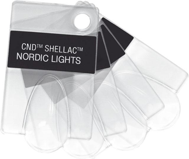 VZORNÍK CND SHELLAC - 4 ks prázdných tipů s názvy laků kolekce AURORA