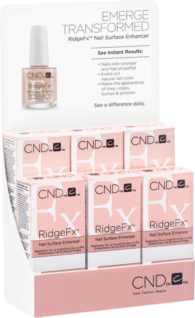 RIDGEFX™ 6 x 0.5oz (15ml) - vyrovná povrch, zanechá nehet odolnější, balení 6 ks ve stojanu